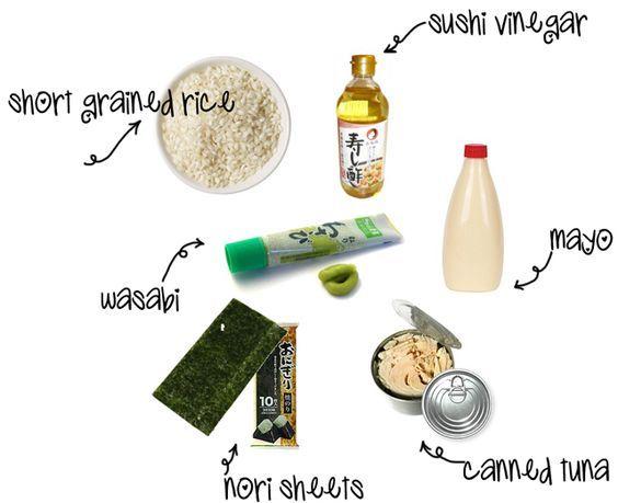 Ingredients for Tuna Mayo Onigiri   Rice (short grained)  ,Tuna (canned)  ,Salt,Wasabi , Mayonnaise,Sushi vinegar ,Nori