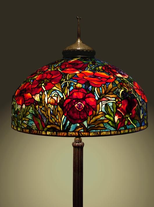 "2014 Online Art Glass Festival Lamps 1st Place ""26"" Oriental Poppy"" by Scott"