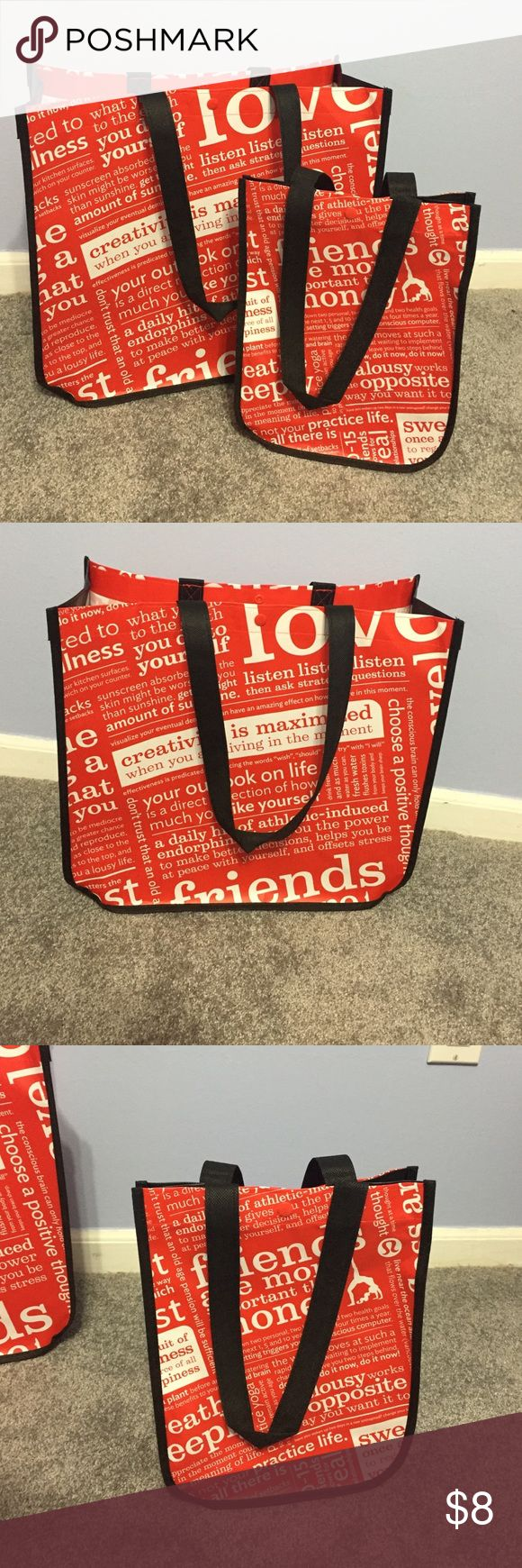 Two Lululemon bags Two lulu bags! One big and one small. Used to carry items out of the shop, that's all! lululemon athletica Accessories