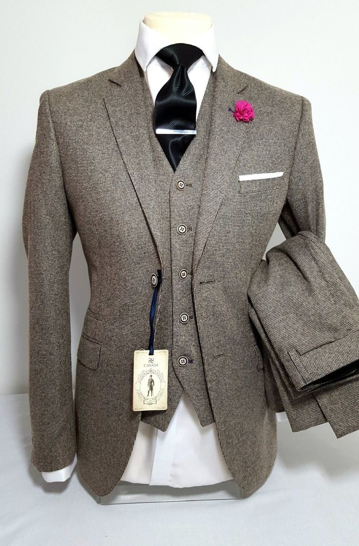 MENS TAN 3 PIECE TWEED SUIT WEDDING PARTY PROM TAILORED SMART in Clothes, Shoes & Accessories, Men's Clothing, Suits & Tailoring | eBay