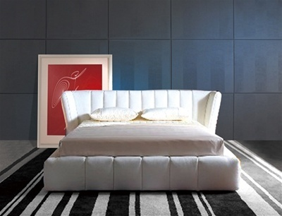 kover white leather bed frame
