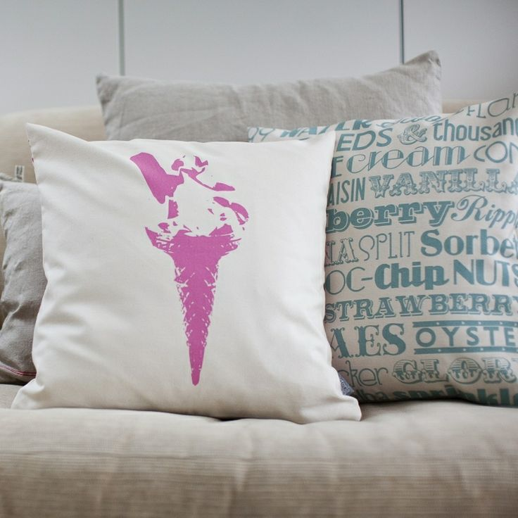 Ice Cream Delight Cushion is a healthier way to cuddle up on the sofa with your favourite ice cream. This reversible cushion is guaranteed to go down a treat with any lover of traditional English ice cream, bringing sunshine and seaside memories to your home.  One side features vintage typography, listing classic ice creams such as Rum & Raisin, Raspberry Ripple, Mint Choc Chip, and Knickerbocker Glory, while the reverse features an iconic stenciled image of a 99p flake… Yum!