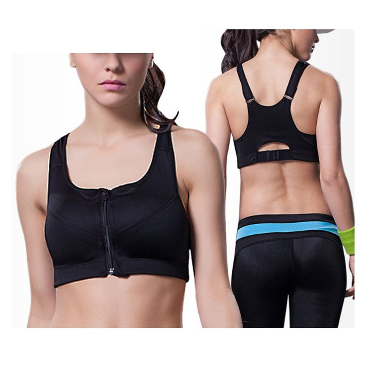 Professional Women Sports Bra Zipper Front Padded Push Up Shockproof Wirefree Tops Gym Fitness Running sujetador deportivo