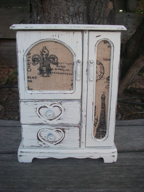 White Jewelry Box Off White Shabby Distressed by ABackyardCreation, $62.00