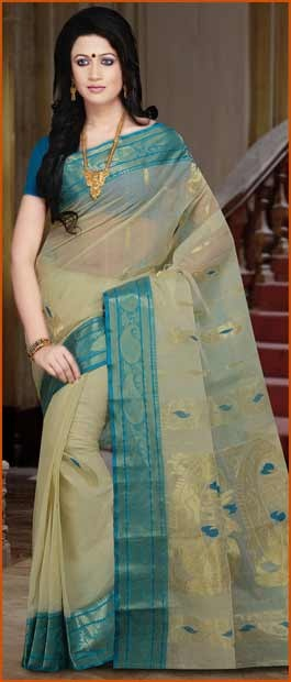 Cream #Cotton Tant #Saree With Blouse