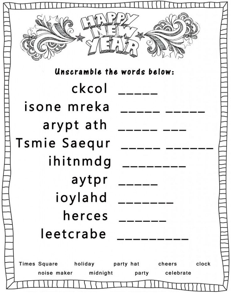 word scramble puzzles new year K5 Worksheets New year