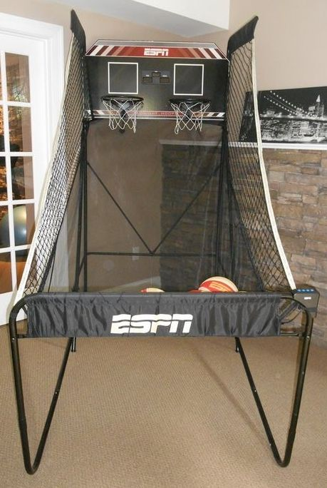 ESPN indoor basketball practice, midnight Hoops w/ elec scoreboard, four mini basketballs.