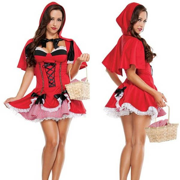2015 New Fashion Sexy Miss Riding Hood Short Sleeves Costume Fary Tale Halloween Party Costumes in Medium