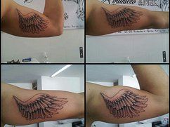 """Wing tattoo on the arm black and grey  by Tattooist Castro """"King of Queens"""""""