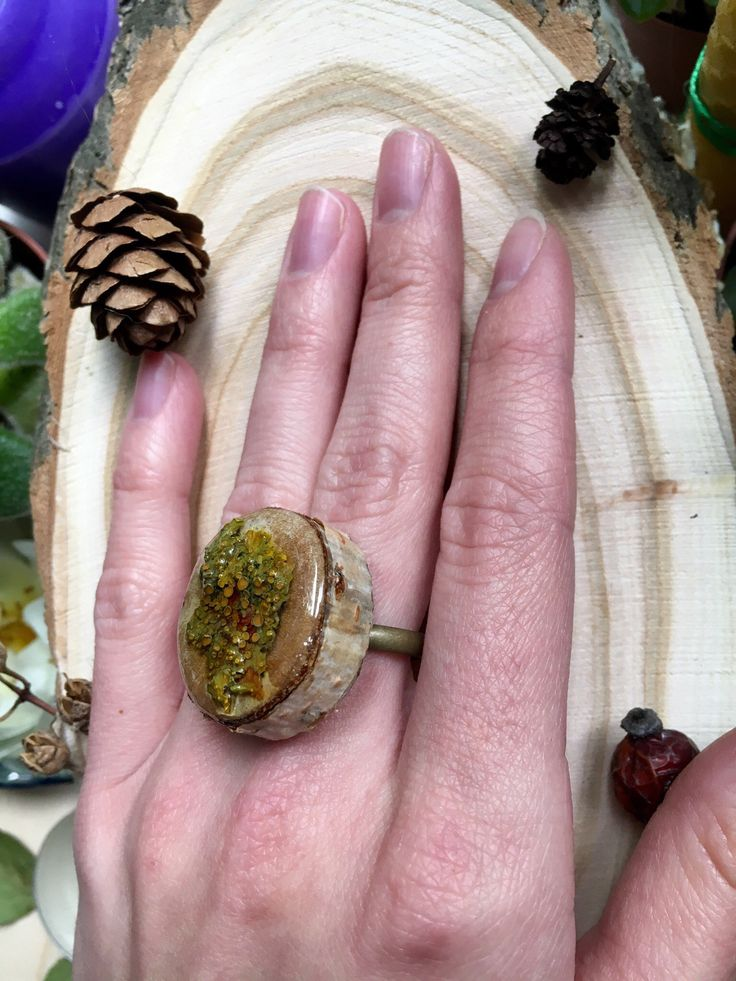Forest jewelry, Wood ring, russian birtch, lichen ring