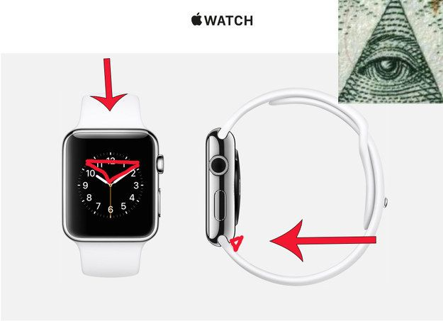 """APPLE is run by the IllUMINATI?! """"Proof"""" (clock) by BuzzFeed following Apple's Event 9.9.2014  • BuzzFeed feeds B.S. so stupid it buzzes up your butt: silly non-proof: clock image at 10:10 – but most dials would show triangle?!"""