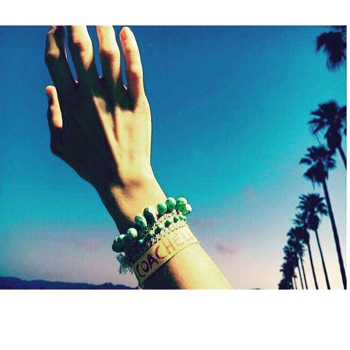 Give me more Coachella ! Day 2 and our THALIA cross is worn by @weedeille original braided Arizona Turquoise drops bracelet!