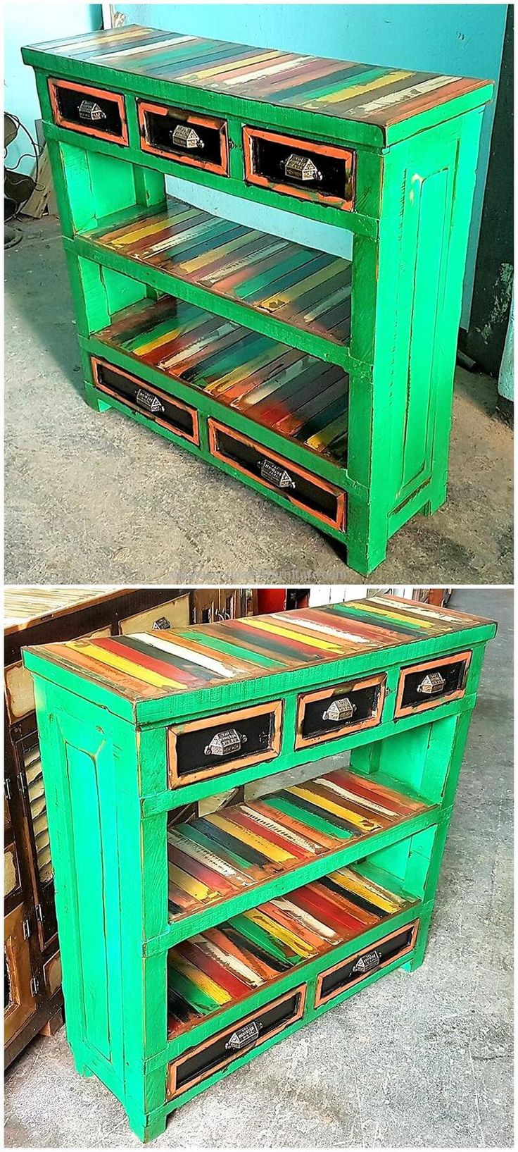 Now come to an idea which serves as decoration as well as allows place to store the items with the chances of missing. The shipping pallet entryway table is painted with funky colors to add grace to it and the handles are looking perfect on the drawers. The decorative items can be placed on the hollow space to adorn the area.