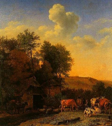 A Landscape With Cows Sheep And Horses By A Barn 1651 by Paulus Potter
