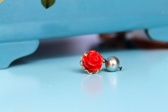 Vintage Style Scarlet Pearly Buds Dangle by comeandplaybetsymay