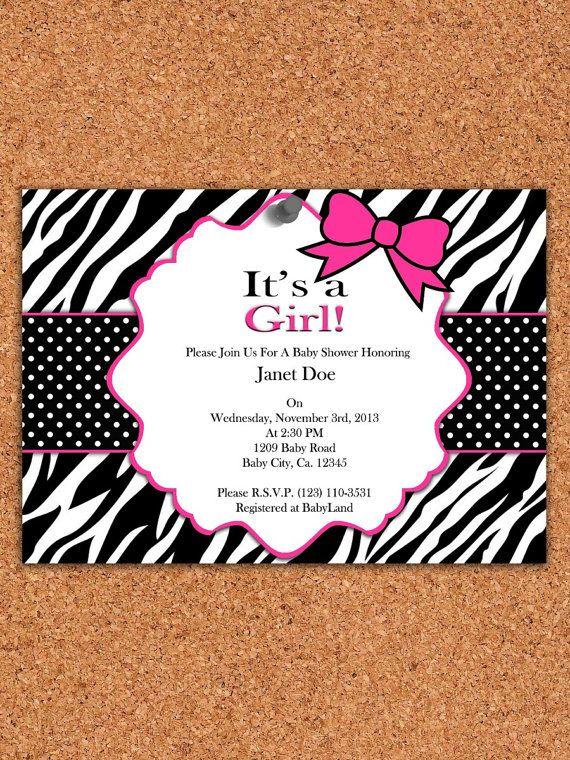 PRINTABLE INVITATION, Zebra Baby Shower invitation , pink zebra baby shower on Etsy, $5.00