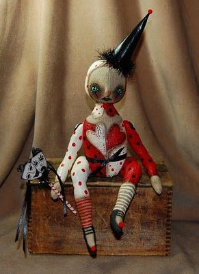 Outside the Box Primitives: GOTHIC VALENTINE~BROKENprimitive doll harlequin jester Valentine's DaySOLD !