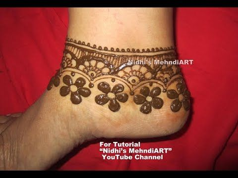 "YouTube beautiful floral anklet pattern jewelry ornament design inspired feet mehndi henna design tutorial. Search ""Nidhi's MehndiART"" YouTube channel for all kind of mehndi henna design tutorial. #fashion #jewellery #trend #bridal #bride #wedding #marriage #festival #tradition #beautiful #girl #london #paris #canada #us #india #surat #ahmedabad #uk #arabic #floral #gulf #dubai #henna #mehndi #mehandi #art #drawing #tattoo #design"