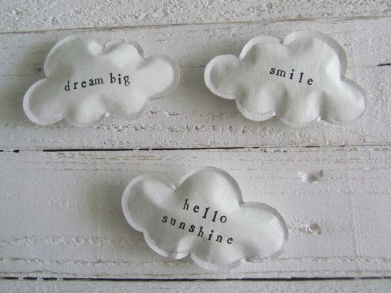 paper clouds magnets ♥ really nice....on magnet canvas painted with chalkboardpaint......