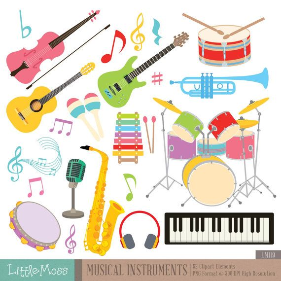 Digitale illustraties van muziekinstrumenten, gitaar Clipart, viool Clipart, Drum Clipart