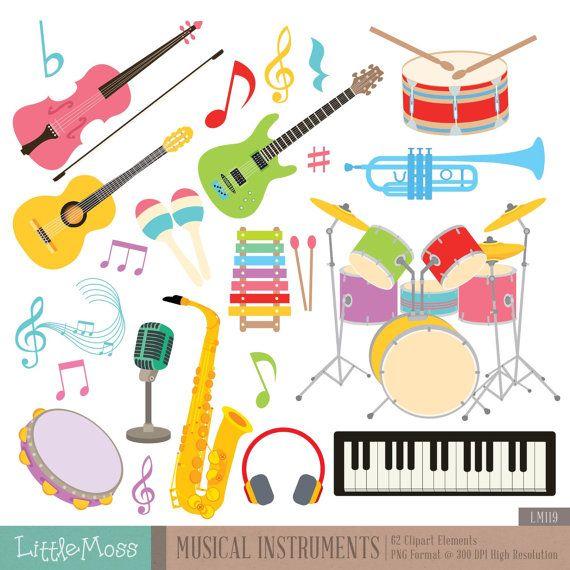 Digitale illustraties van muziekinstrumenten, gitaar Clipart, viool Clipart, Drum Clipart