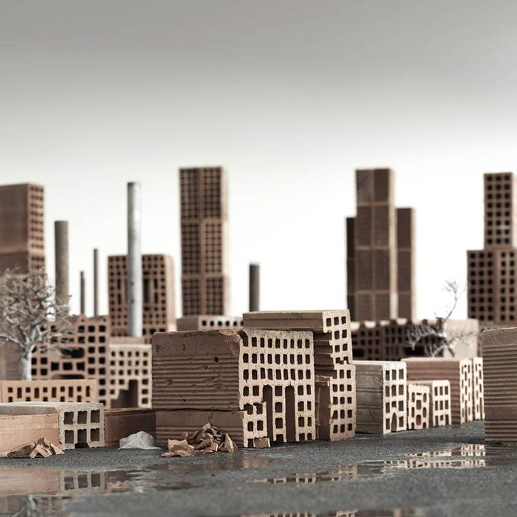 matteo mezzadri builds a brick city from urban architectural materials