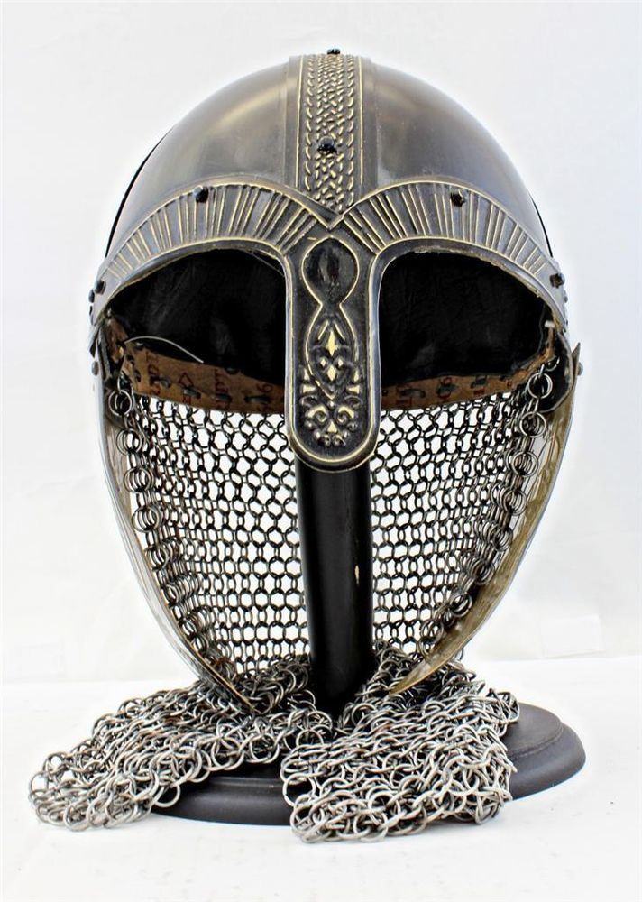 Steel VIKING HELMET w/Chainmail - Hand-Forged -- norse/medieval/celtic/sca/armor