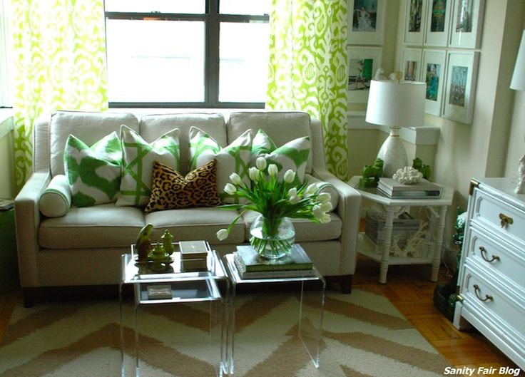 Sanity Fair: Tan And Green Living Room With White And Green Ikat Curtains  Framing Tan Part 4