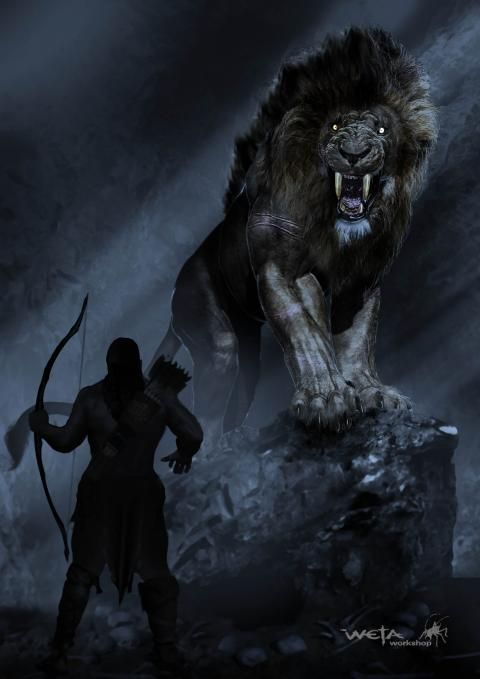 This is a modern depiction of the battle between Hercules and the Nemean lion. Even today, the myth shows up in modern art. There is no artistic credit available, other than it was created by Weta Workshop.