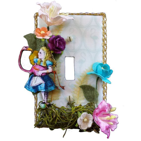 Alice In Wonderland Light Switch Cover - Flamingo Croquet Decorative Switch plate Functional Art on Etsy, $24.95