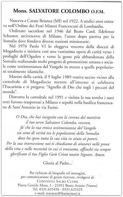 Stelle in Cielo, storie di persone normali molto speciali: Pietro Salvatore Colombo, OFM, vescovo di Mogadiscio, Somalia, martire, assassinato il 9 luglio 1989