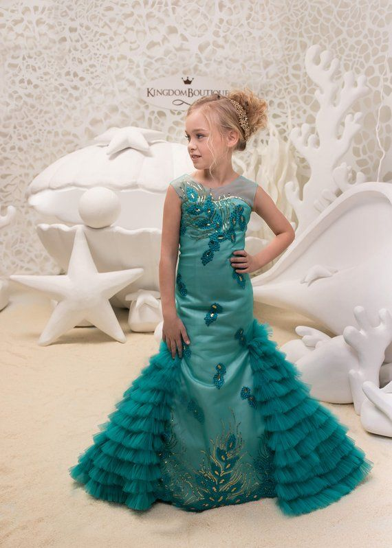 8afe57e45 Teal Flower Girl Mermaid style Dress -Wedding Party Mermaid Style ...