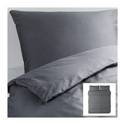 GÄSPA Duvet cover and pillowcase(s), dark gray - dark gray - King - IKEA