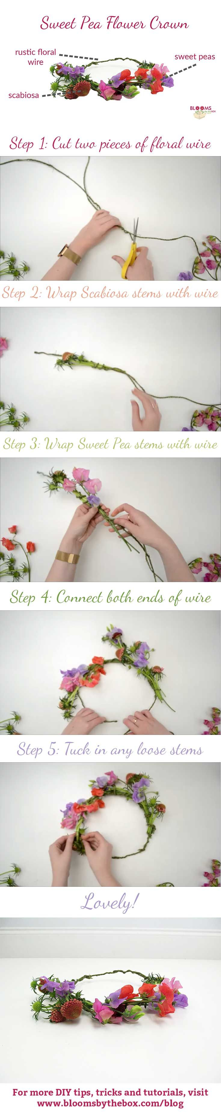 Take your bridal party to the next level with these darling sweet pea flower crowns! The rustic scabiosa stems make it the perfect accessory for a boho bridal shower or wedding!