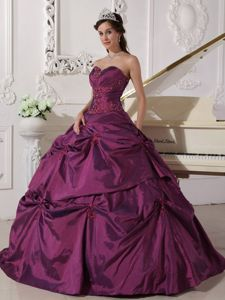 Dark Purple Sweetheart Pick-ups Quinceanera Gown with Appliques