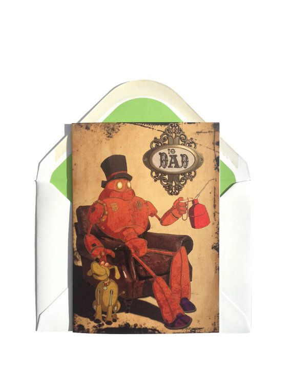 Steampunk Robot Father's Day/Birthday Card - £2.65+p&p  by CapnDred  #dieselpunk #birthday #father