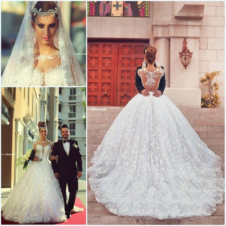 Dream dress! vestido de noiva manga longa said mhamad ball gowns long sleeves lace wedding dress with chapel train bridal gown abiti da sposa