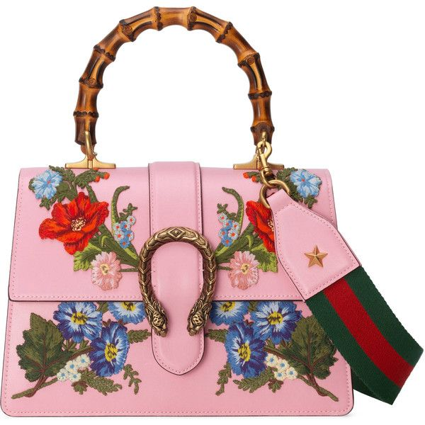 Gucci Dionysus Embroidered Leather Top Handle Bag ($3,800) ❤ liked on Polyvore featuring bags, handbags, light pink, genuine leather purse, floral leather purse, structured leather handbags, embroidered purse and white handbags