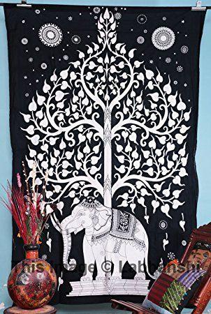 Tapiz elefante blanco y árbol de la vida