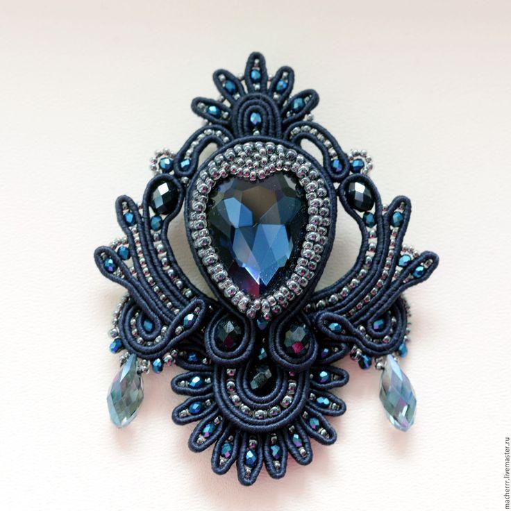 """Купить Брошь из комплекта """"Шанель в синем"""" - тёмно-синий, macherrr, brooch, jewelry, accessories, fashion"""
