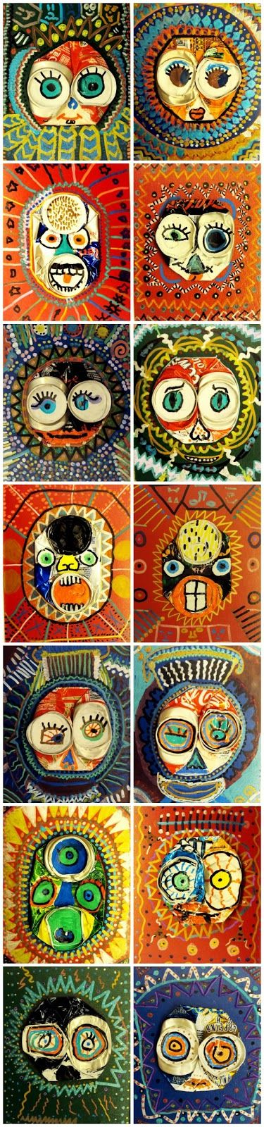 Plastiquem: LLAUNES PINTADES  Faces made from flattened soda cans