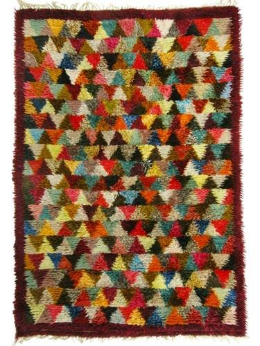 Stunning Mid Century Scandinavian Modern Handmade Swedish Rya Rug Carpet