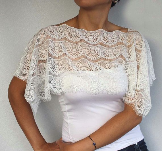 Weddings Top Wear Capelet Lace Bridal Shrug. by MammaMiaBridal