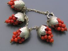 Antique Victorian Genuine Coral Grape Cluster Charm Bracelet. I HAVE to have these!