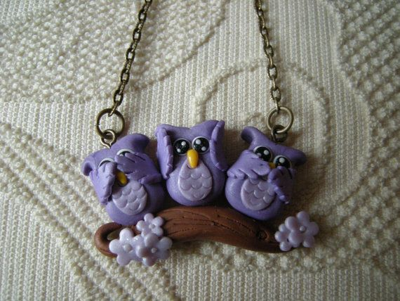 Fimo clay necklace small size, pendant with three owls on a branch, see, hear, speak no evil