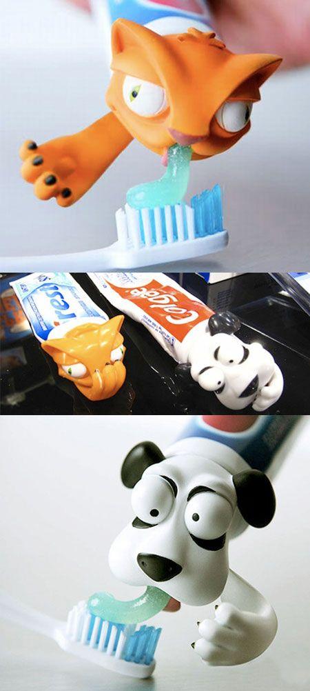 funny creative toothpaste cap design cat dog / TechNews24h.com