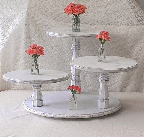 Shabby Chic CupCake Stand Cup Cake Table by ThreeTwigsDesigns