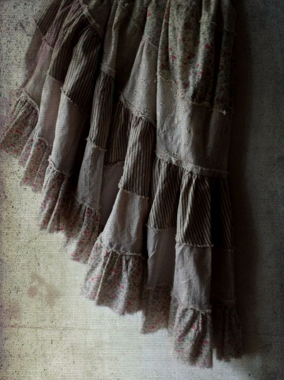 Rustic Romantic Prairie Skirt.  Shabby Boho Gypsy by ShabbyPeonie