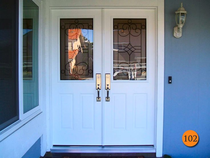After thirty inch double entry doors fiberglass therma for Entrance doors for sale