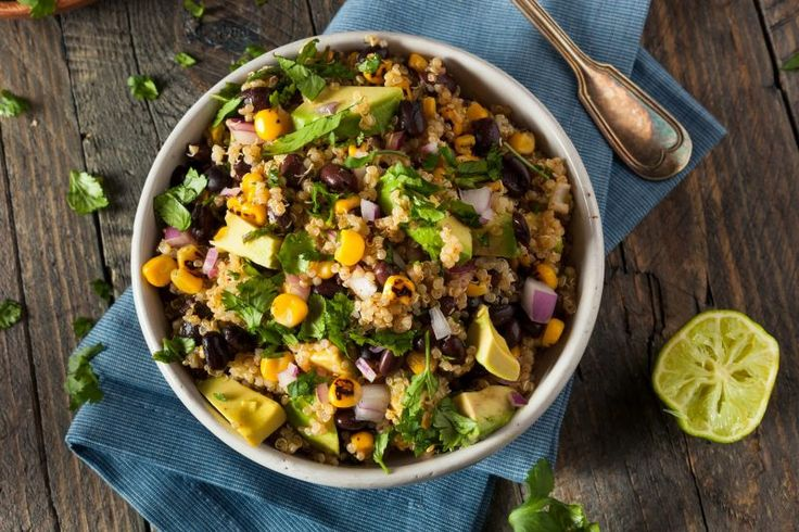 Double or triple the recipe - it's a crowd pleaser! Serves 6 Salad Ingredients: 2 cups cooked quinoa 1/2 cup fresh, grilled or frozen organic sweet corn 1 cup cooked black beans (mixed with: 1/8 tsp sea salt, 1/8 tsp cumin, 1/8 tsp chili powder...